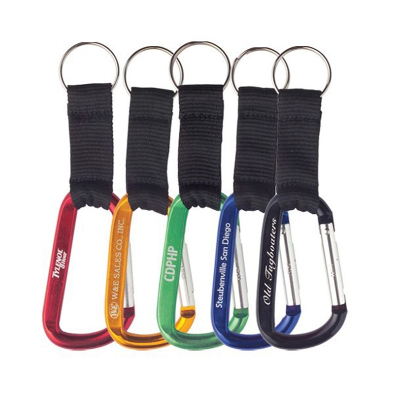 Bright Colorful Carabiner with Black Strap Key Chain