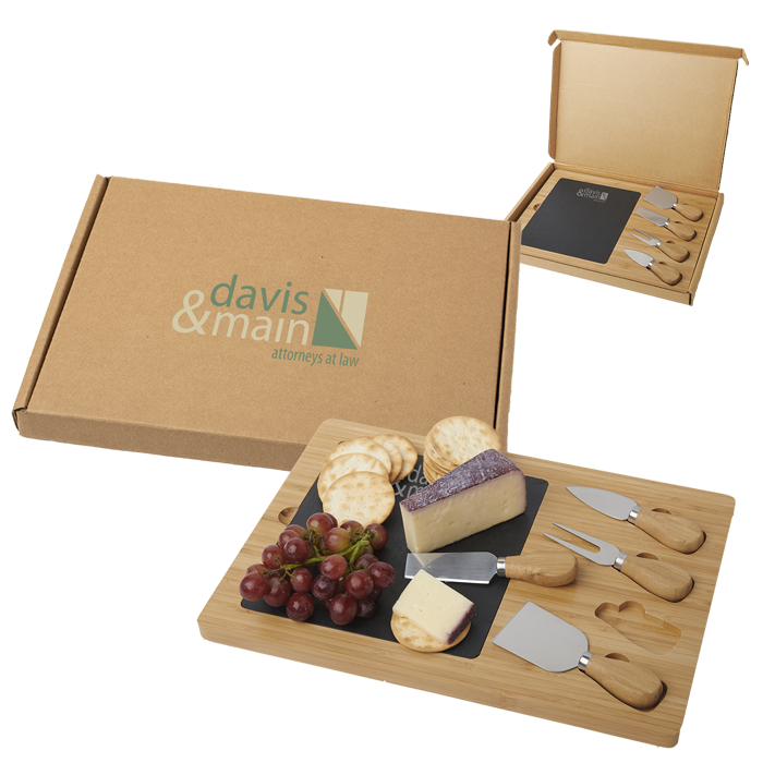 Bamboo 5 Piece Cheese Board Set in Packaged Gift Box