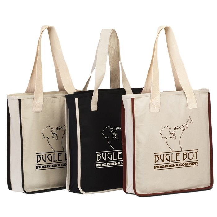 11.5 Oz Cotton Canvas Shopping Tote Bag with Accent Piping
