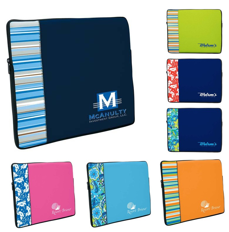 Two-Tone Neoprene Laptop Sleeve with Pattern Accent Small