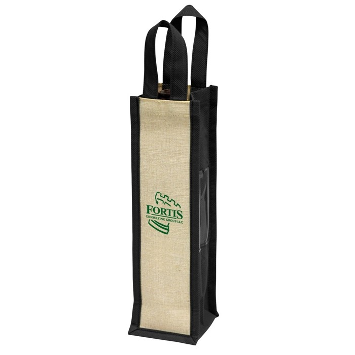 Wine Tote for Single Bottle with ID Window