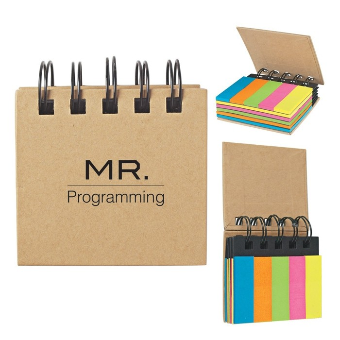 Natural Cover Mini Sticky Flags in Spiral Notebook
