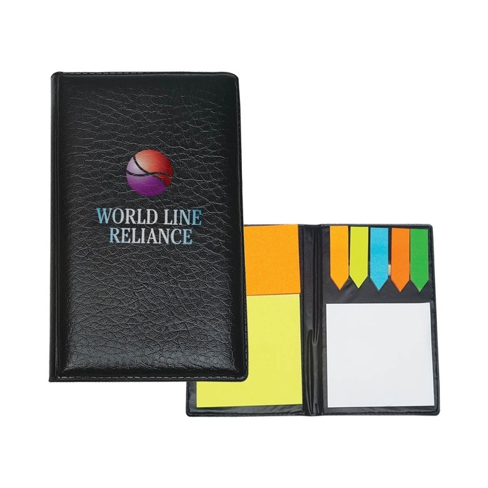 Textured Leatherette Cover Sticky Notes and Flags Desk Set