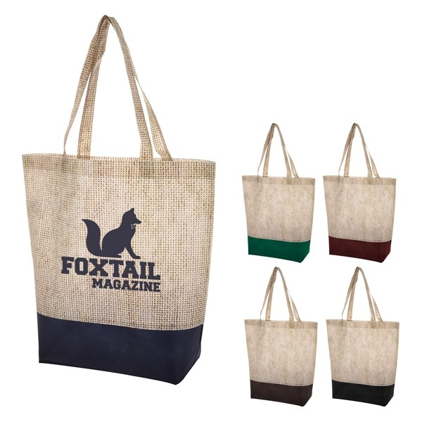 Earthy Burlap Linen Pattern Printed NonWoven Shopper Tote