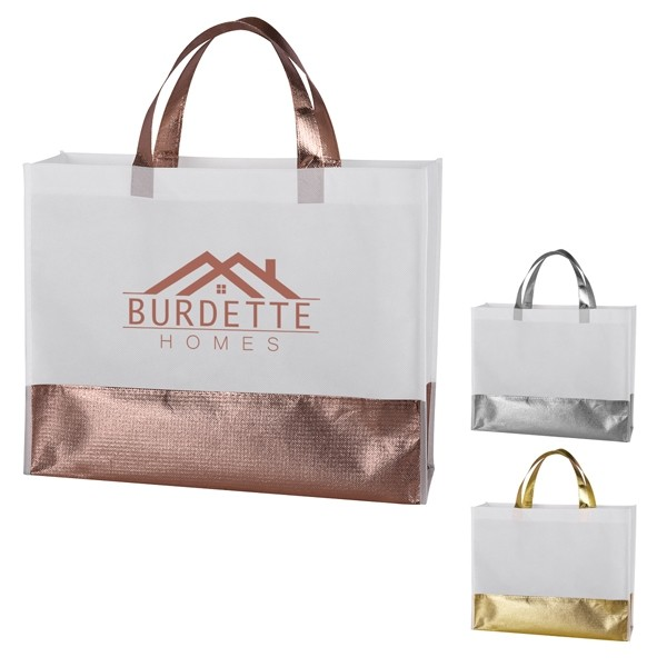 Metallic Gold or Silver or Rose Gold Bottom Polypro Nonwoven Box Tote