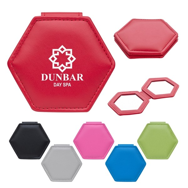 Portable Leatherette Travel Compact Mirror in Hexagon