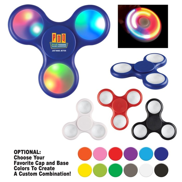 Multi-Color Bright Light-Up Fidget Spinner with Logo