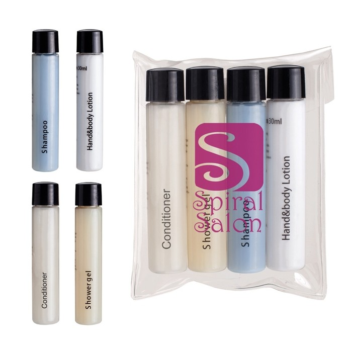 Four Piece Travel Amenities Tubes in Case