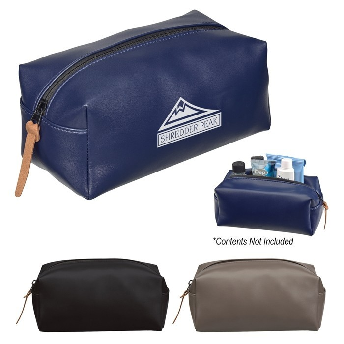 Smooth Leatherette Travel Dopp Kit with Puller