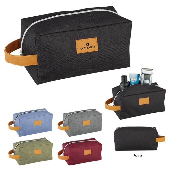 Heathered PolyCanvas Dopp Kit with Leatherette Strap