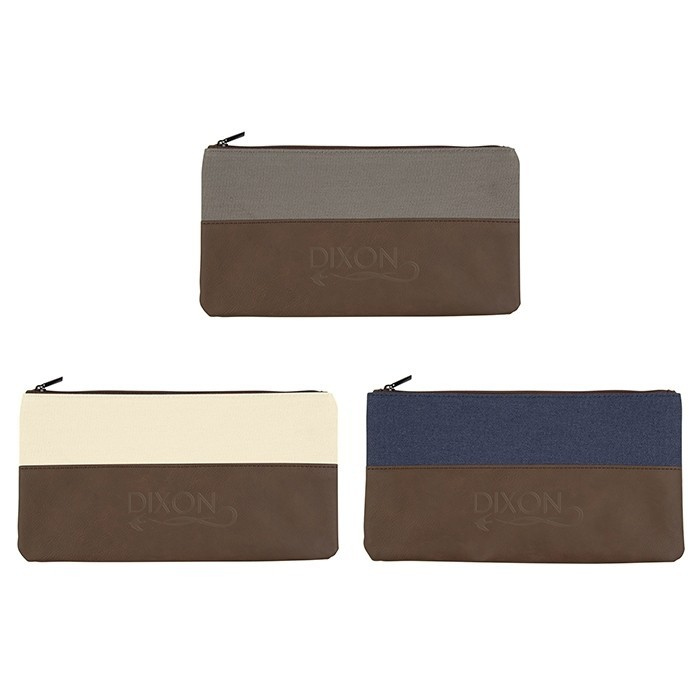 Denim Canvas and Leatherette Two-Tone Zippered Pouch
