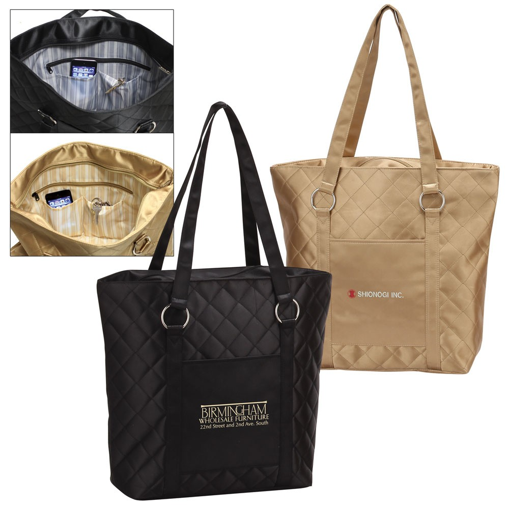 Designer Quilted Collection Zippered Tote Bag