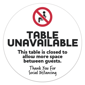 24 Hour Rush COVID-19 Social Distance Table Sticker Removable 8 Inch