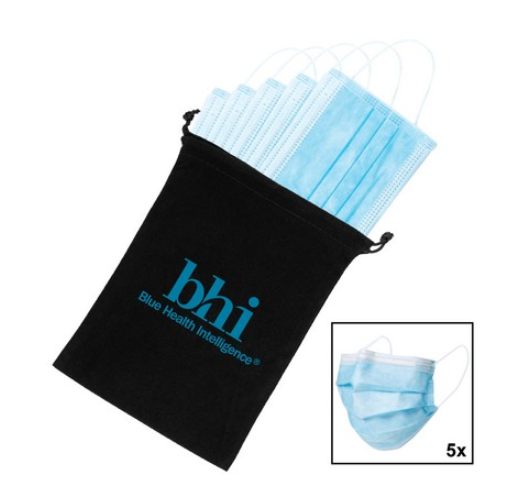 Promotional 5 Pack Disposable Face Masks with Logo