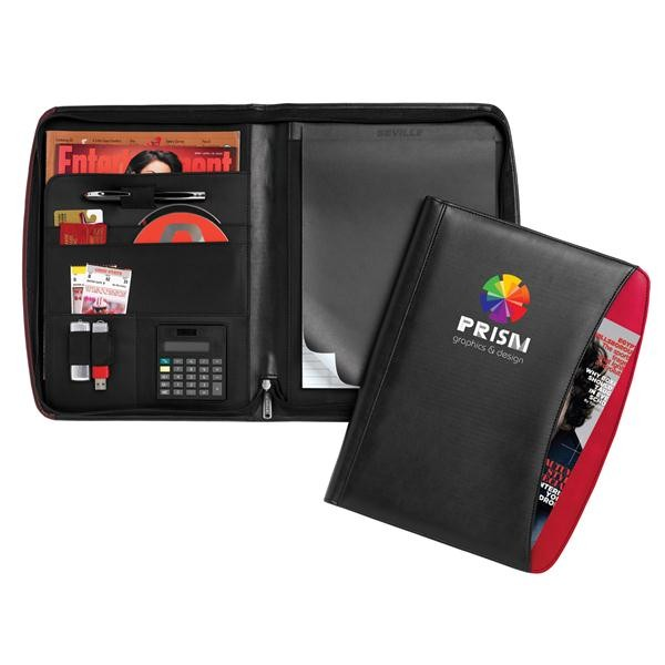 Colorful Pocket Professional Zippered Portfolio with Built-In Calculator
