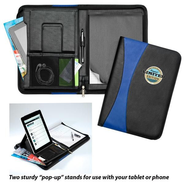 Zeke's Zippered Portfolio with Built-In Tablet and Phone Stand
