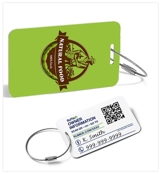 Full Color Recycled Aluminum Made in USA Luggage Tag