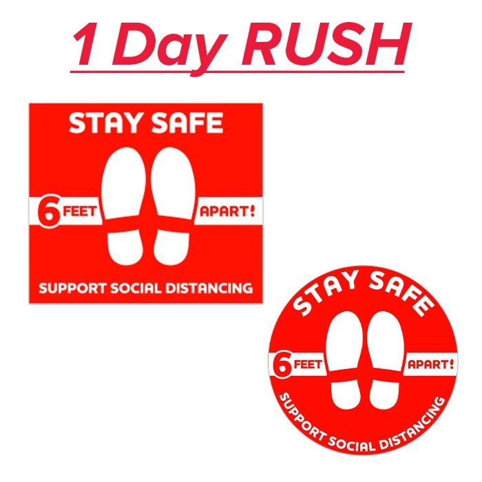 24 Hour Rush COVID-19 Red Floor Social Distancing Decal 12x14 Inch Rectangle or Round Shape