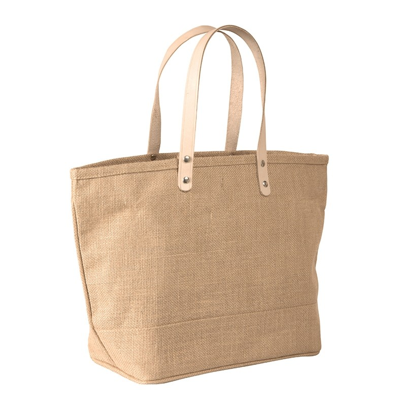 Stylish Burlap Jute Tote with Leather Handles