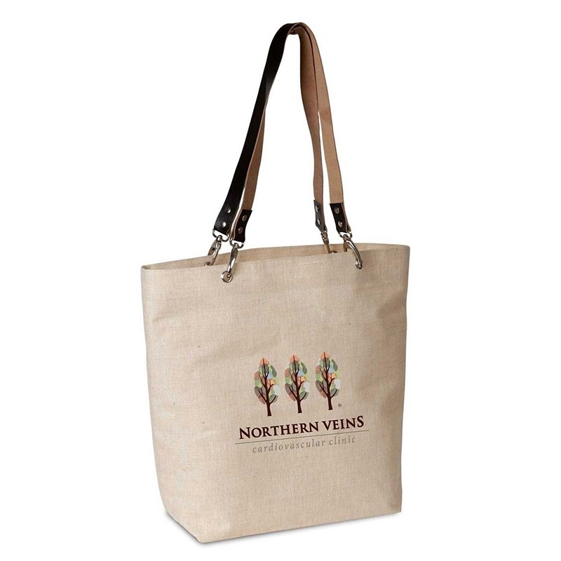 Jute and Cotton Tote with Leather Strap Handles