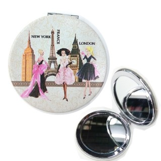 Full Color Sublimated Leatherette Petite Round Mirror