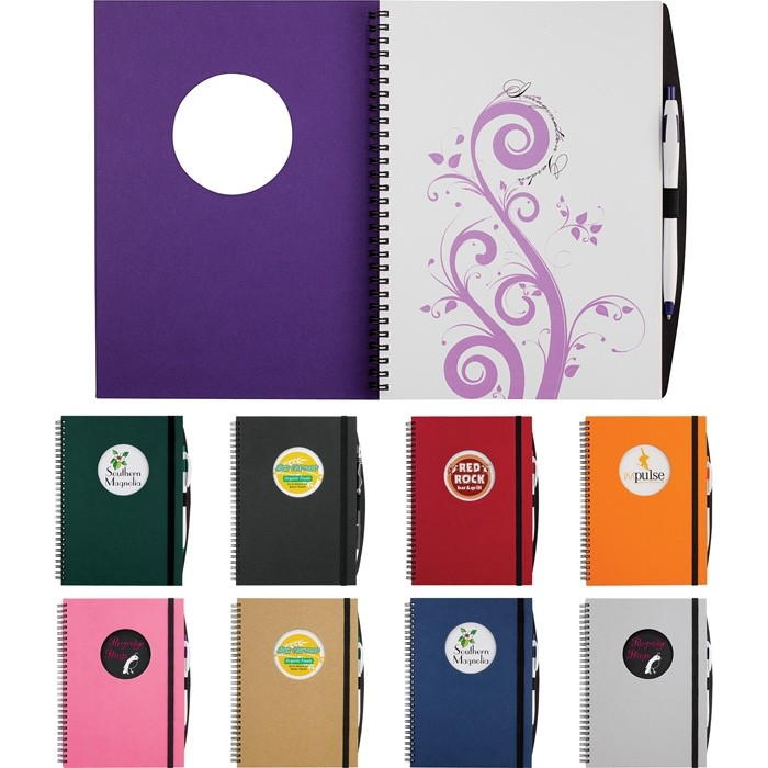 Large Full Color Die Cut Window Hard Cover 10 x 7.75 Notebook Circle