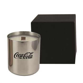 Metallic Silver Candle Gift with Wooden Wick