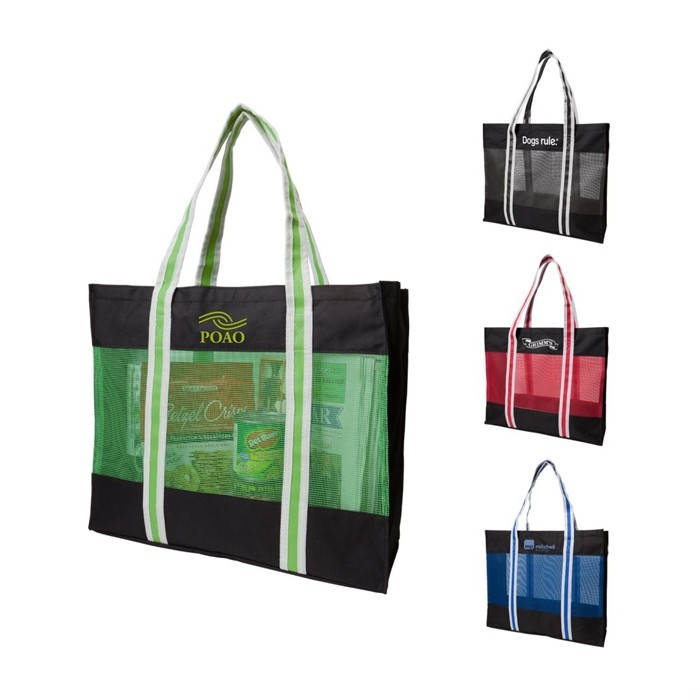 Designer Color Mesh Tote Bag with Accented Strap Handles