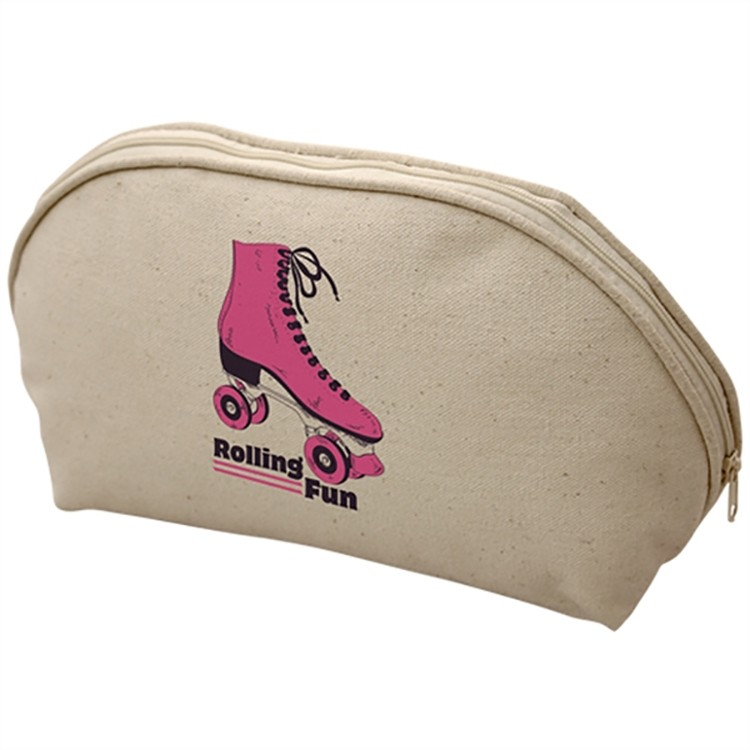 Coated Canvas Cosmetic Zippered Pouch