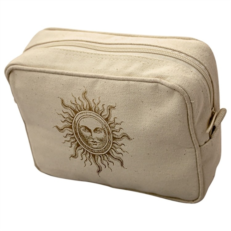 Coated Canvas Rectangular Cosmetic or Travel Bag