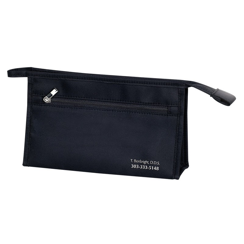 Black Zippered Satin and Nylon Pouch
