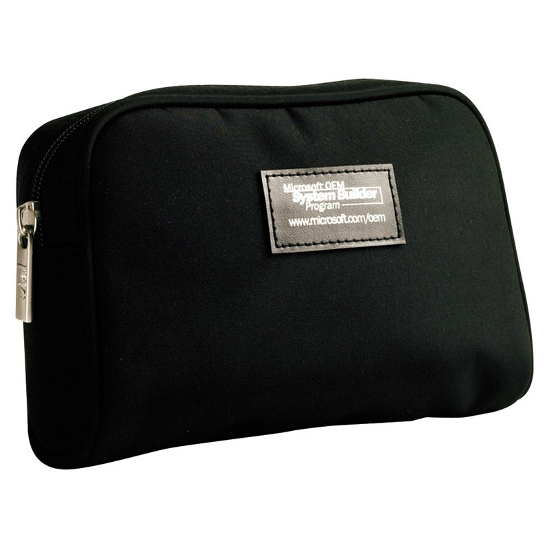 Elegant Black Microfiber Custom Zippered Amenity Case