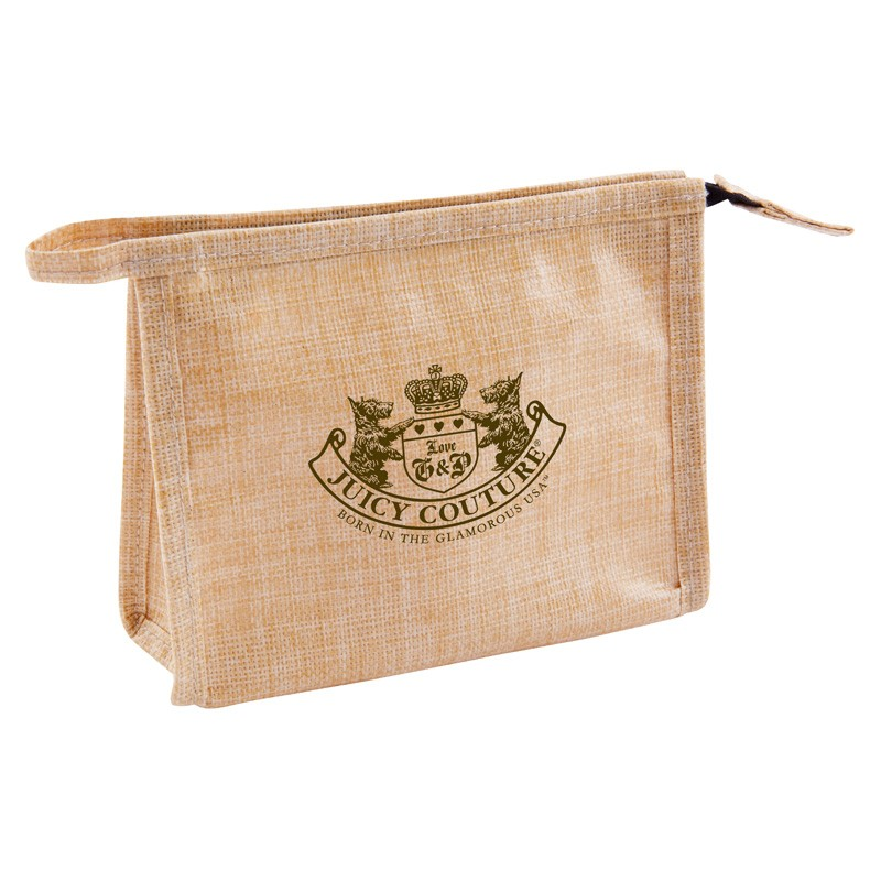 Water Resistant Jute Zippered Cosmetic Case