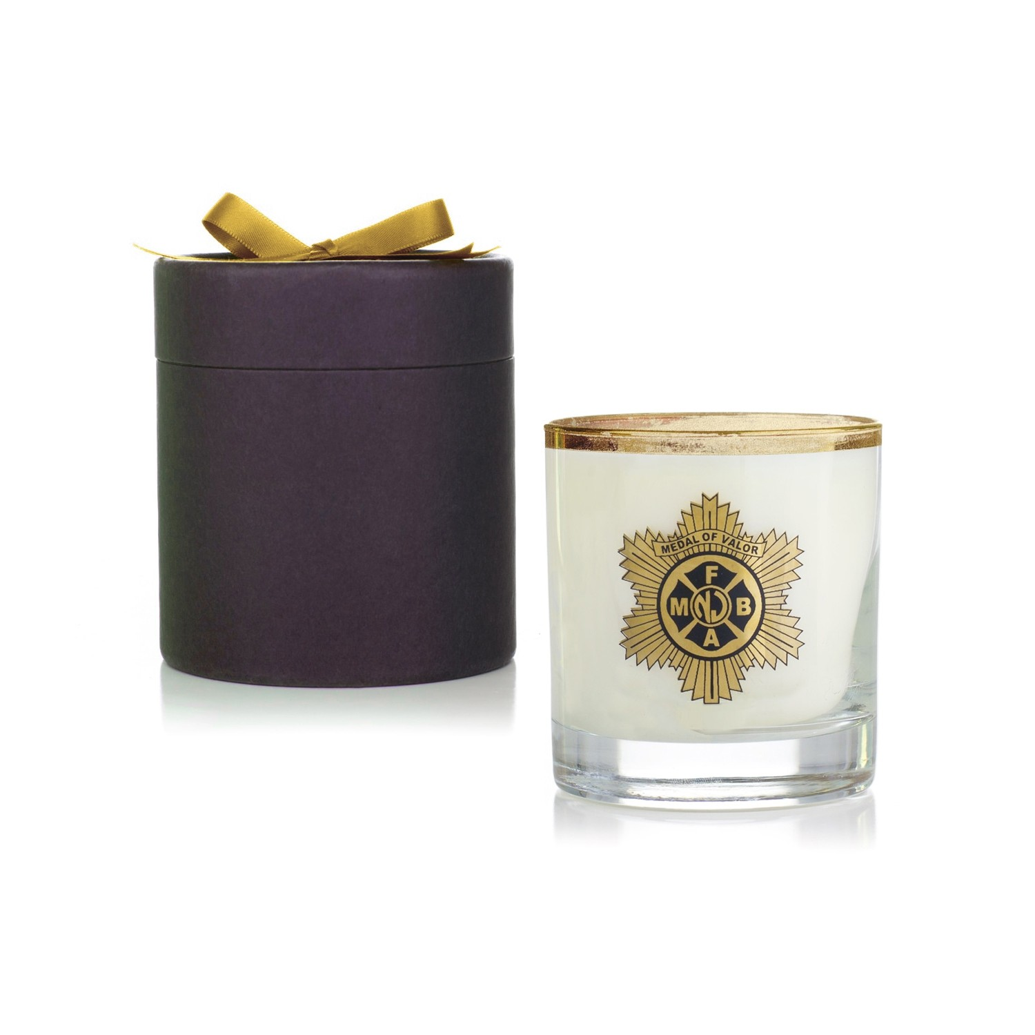 11 Oz Gold Foil Candle in Ebony Round Gift Box - VLUE (Value)