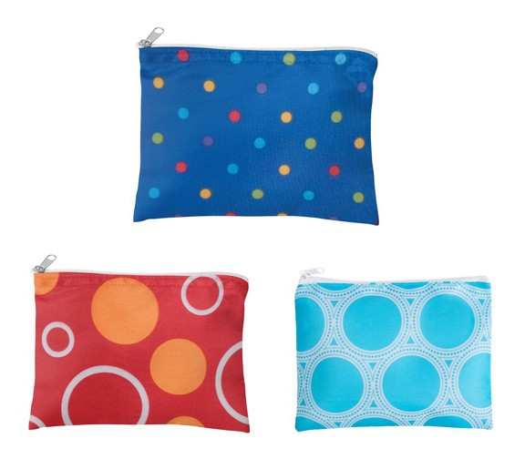 Circle and Dots Zippered Make-Up Pouch