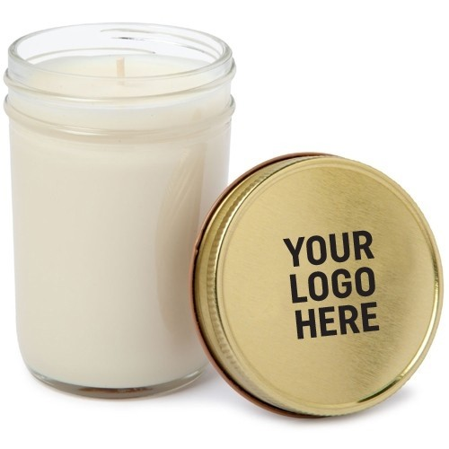 8 Oz. Custom Mason Jar Candle with Gold or Colored Lid