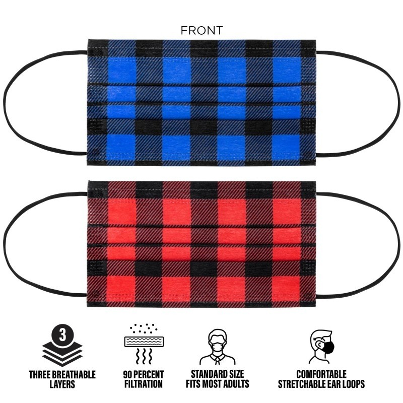 Seasonal Plaid Colored Disposable 3-Ply Face Mask