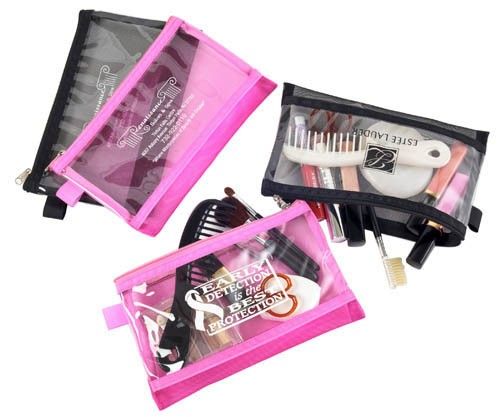 Mesh and Clear Vinyl Cosmetic Pouch