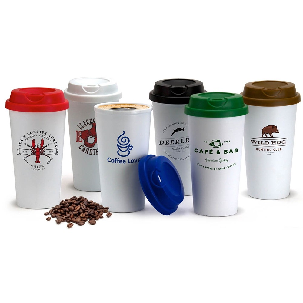 Tall 16 Oz Double-Wall Plastic Tumbler