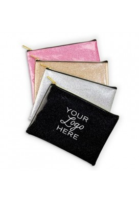 Shimmering Bling Flat Cosmetics Pouch Bag with Gold Zipper