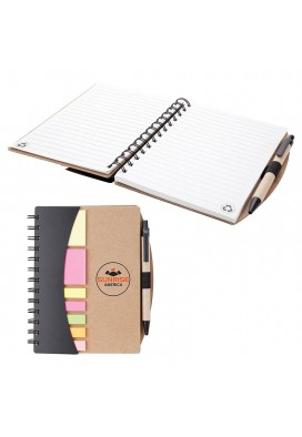 Spiralbound Sticky Notes Notebook with Pen