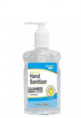 8 Oz Hand Sanitizer Gel Pump Bottle 70% Alcohol