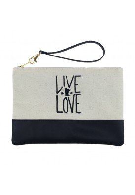 Canvas and Leatherette Wristlet Pouch