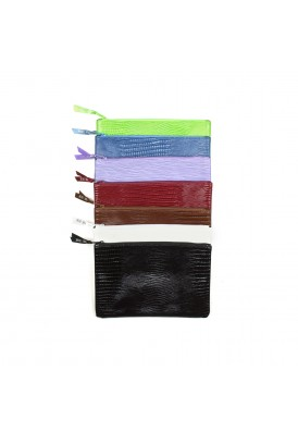 Faux Crocodile Skin Flat Zippered Pouch