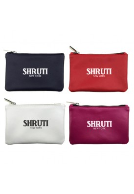 Custom Smooth Leatherette Flat Zippered Pouch