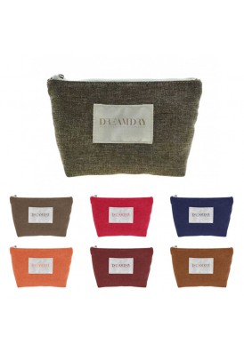 Burlap Jute Trapezoid Gusseted Zippered Cosmetic case