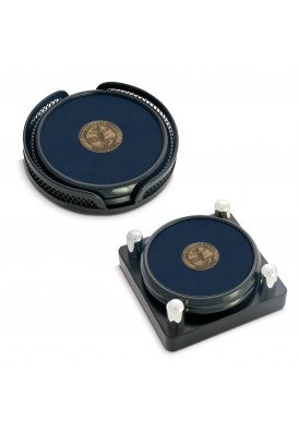 Set of 2 Black Tone Round Coaster with Custom Medallion