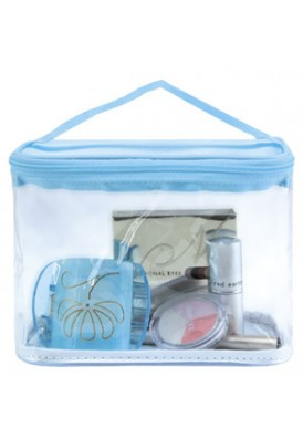 Clear Rounded Custom Cosmetics Bag with Fabric Top/Bottom