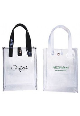 Clear Vinyl Open Tote with Black or White Handles 7x9x3.25