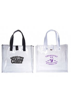 Clear Vinyl Open Tote with Black or White Handles 10x9x3.25